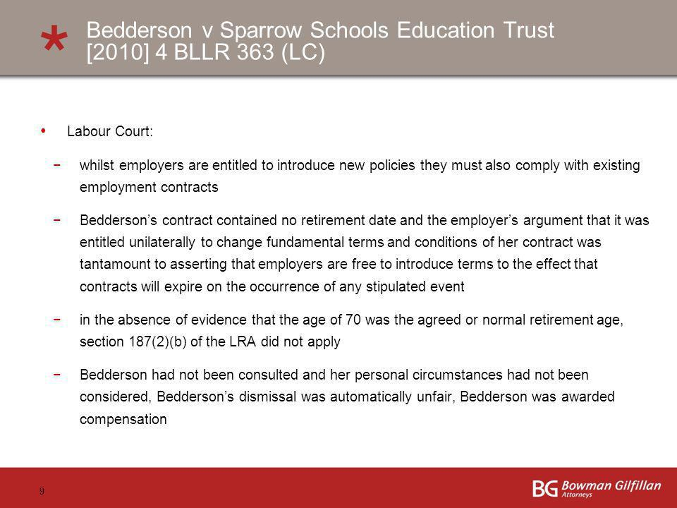 Bedderson v Sparrow Schools Education Trust [2010] 4 BLLR 363 (LC)